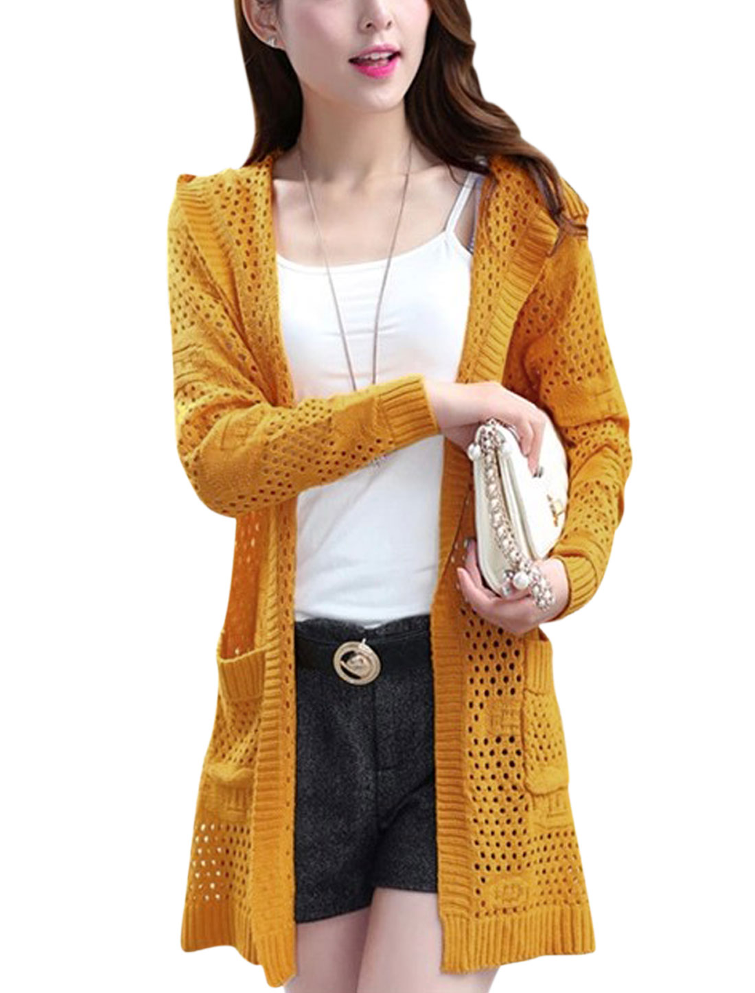 Women Non-Closure Front Hollow Out Tab Back Long Cardigan Ochre XS