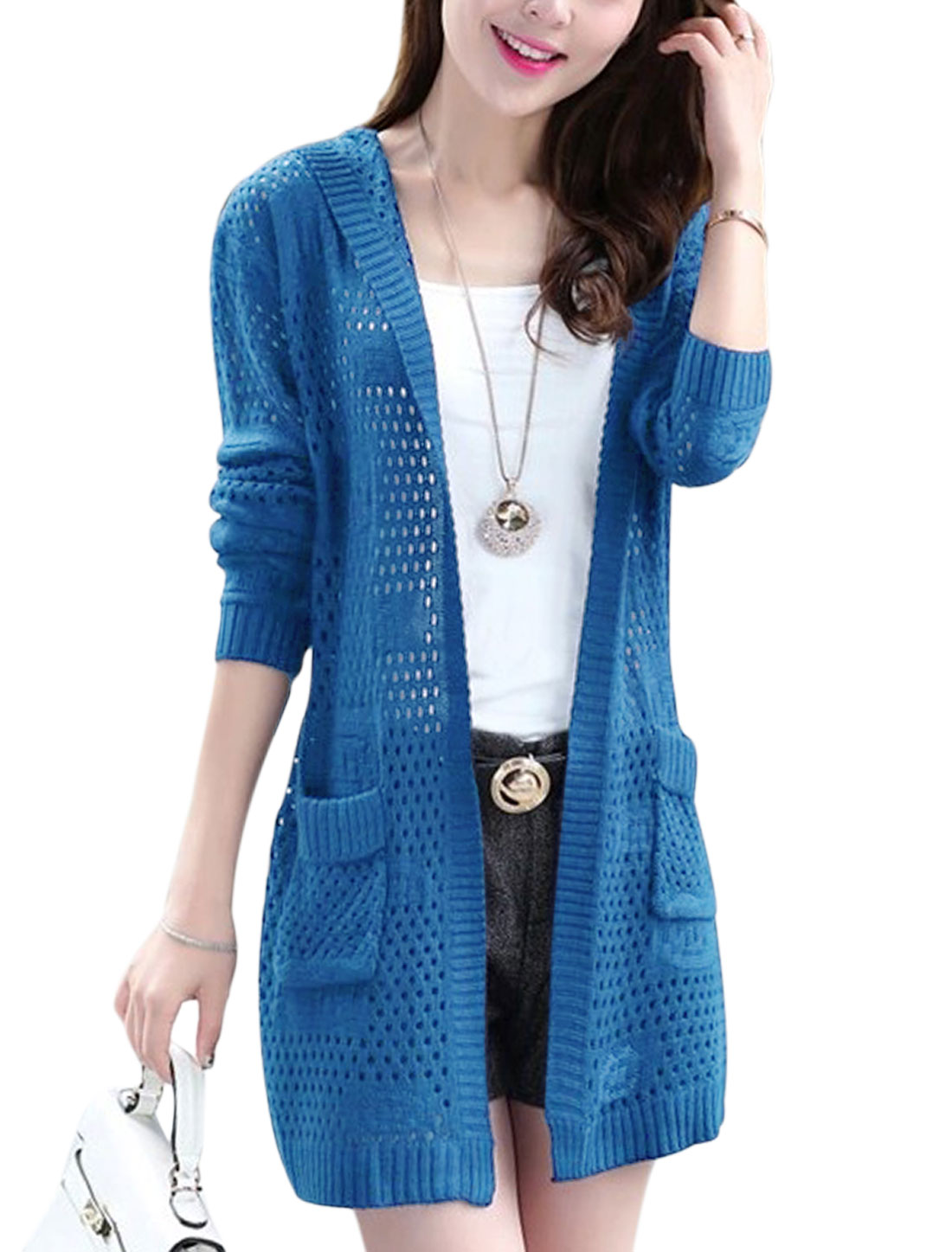 Lady Open Front Double Pockets Casual Hooded Long Cardigan Royal Blue XS