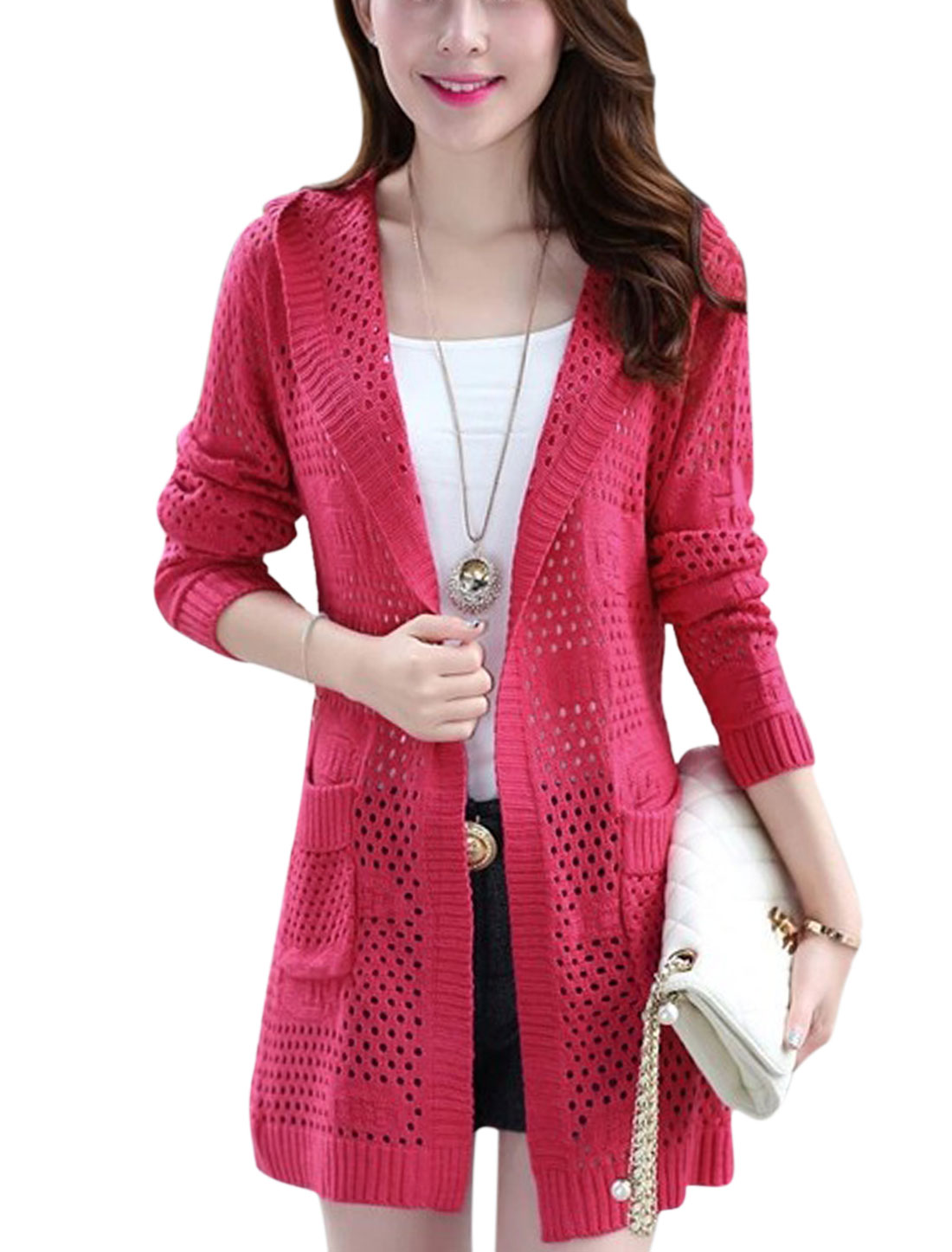 Lady Hollow Out Buttonless Front Long Sleeve Casual Long Cardigan Fuchsia XS