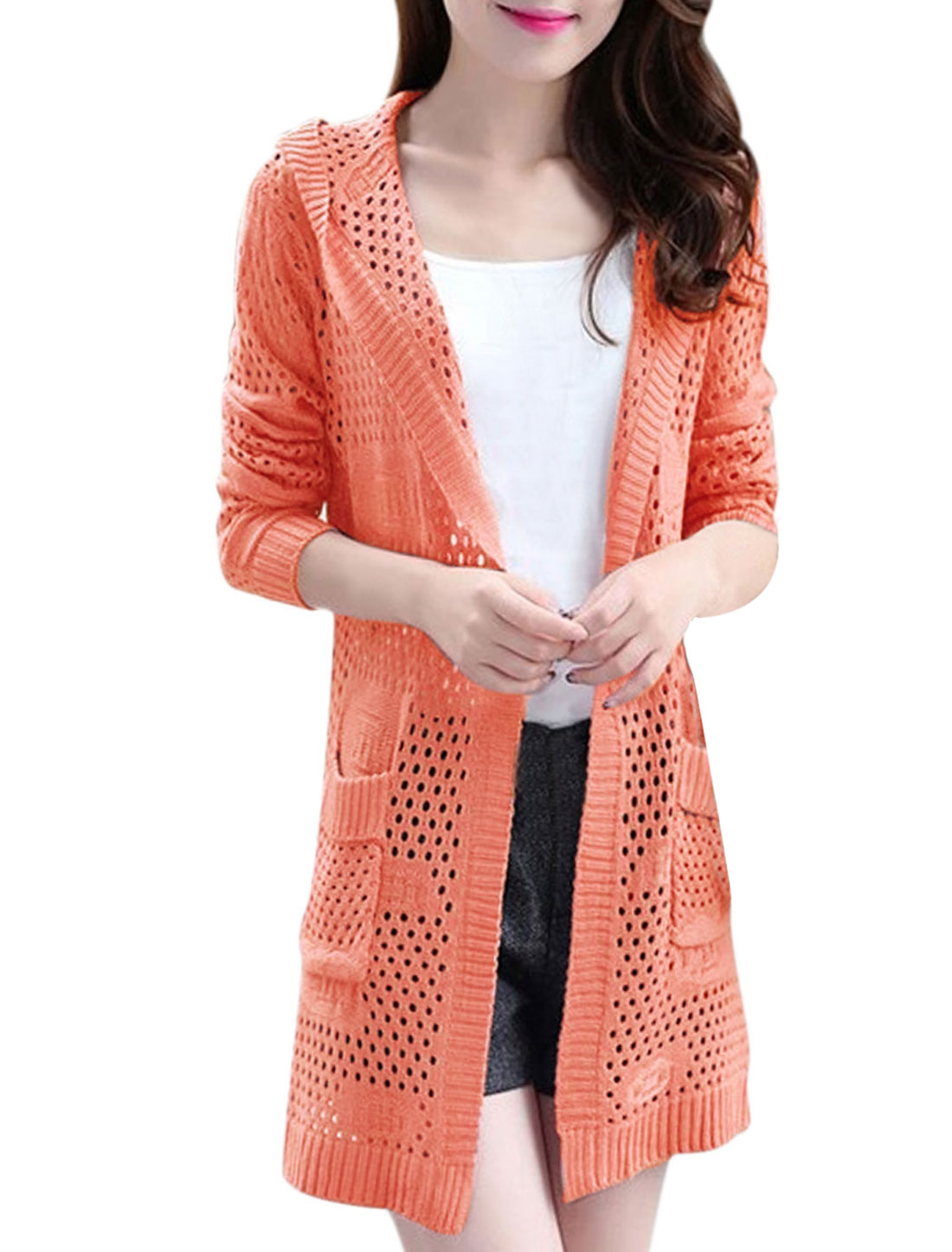 Women Hollow Out See Through Open Front Hooded Long Cardigan Salmon XS