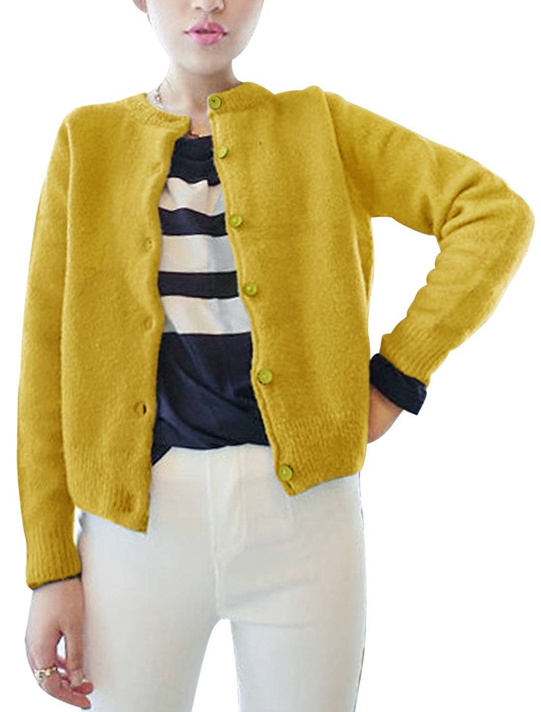 Women Round Neck Long Sleeve Ribbed Trim Casual Knit Jacket Yellow XS