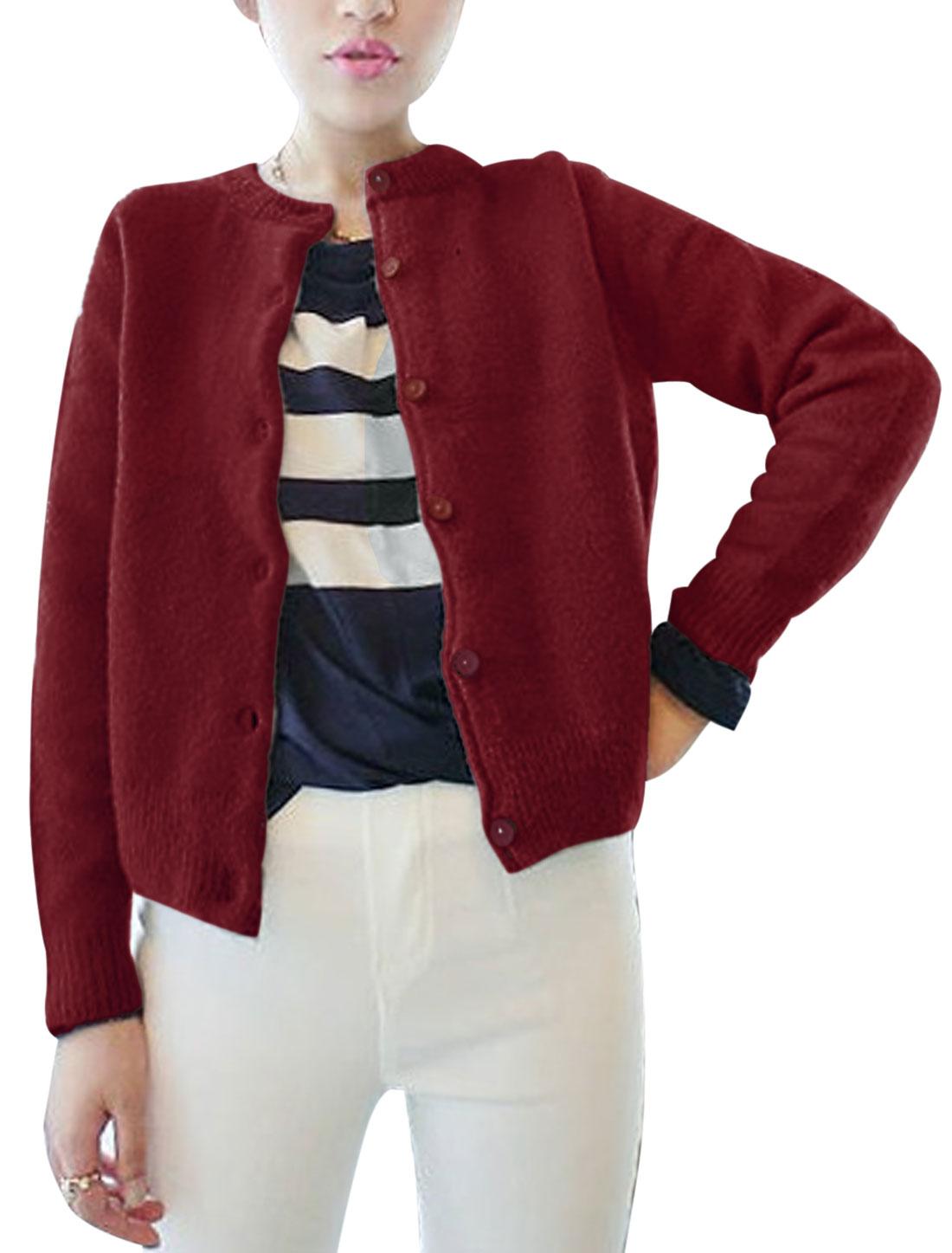 Women Round Neck Long Sleeve Single Breasted Chic Knit Jacket Burgundy XS