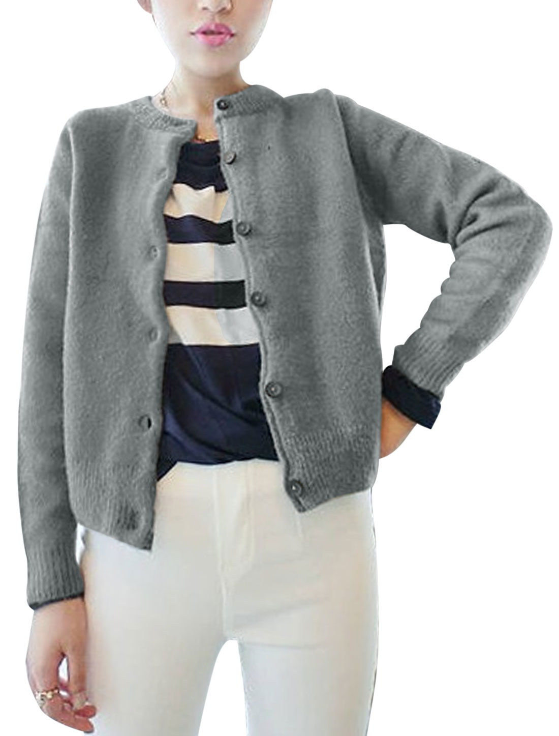 Women Round Neck Long Sleeve Button Down Casual Knit Jacket Warm Gray XS