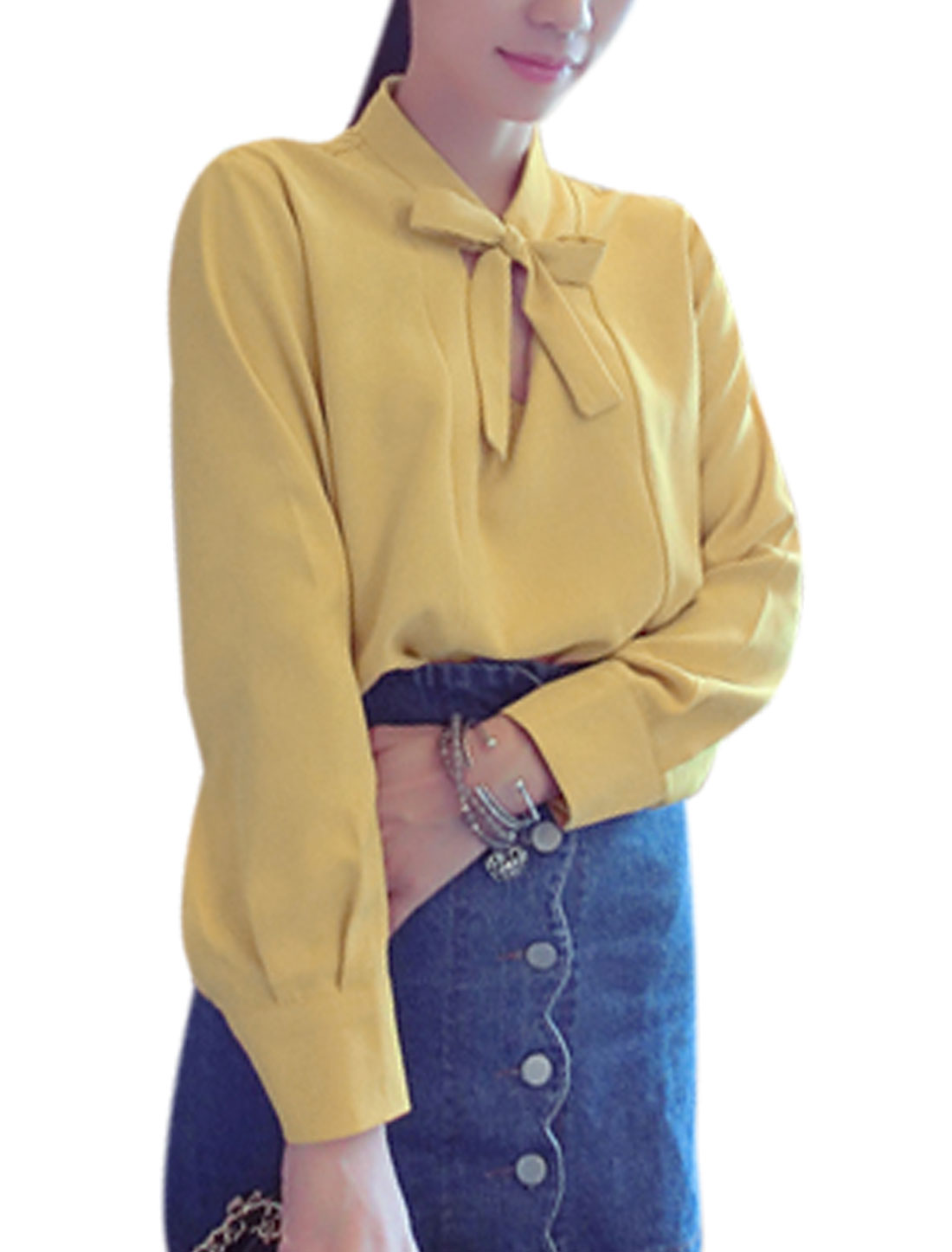 Lady Pullover Self Tie Neck Low Hight Hem Casual Blouse Ochre S