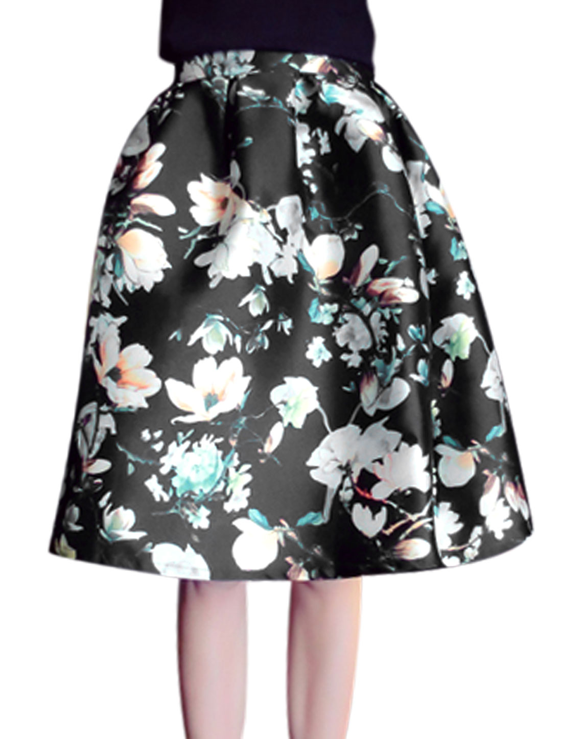 Women Hidden Zipper Side Floral Prints Casual Full Skirt Black S