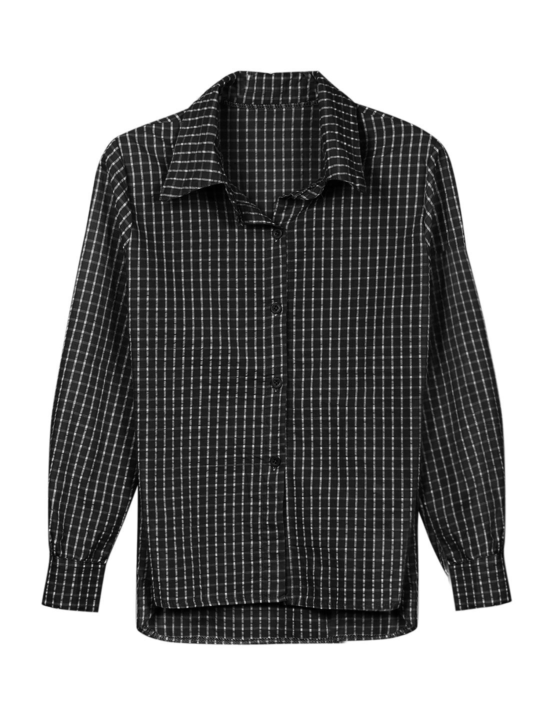 Lady Point Collar Long Sleeve Plaids Button Down Shirt Black XS