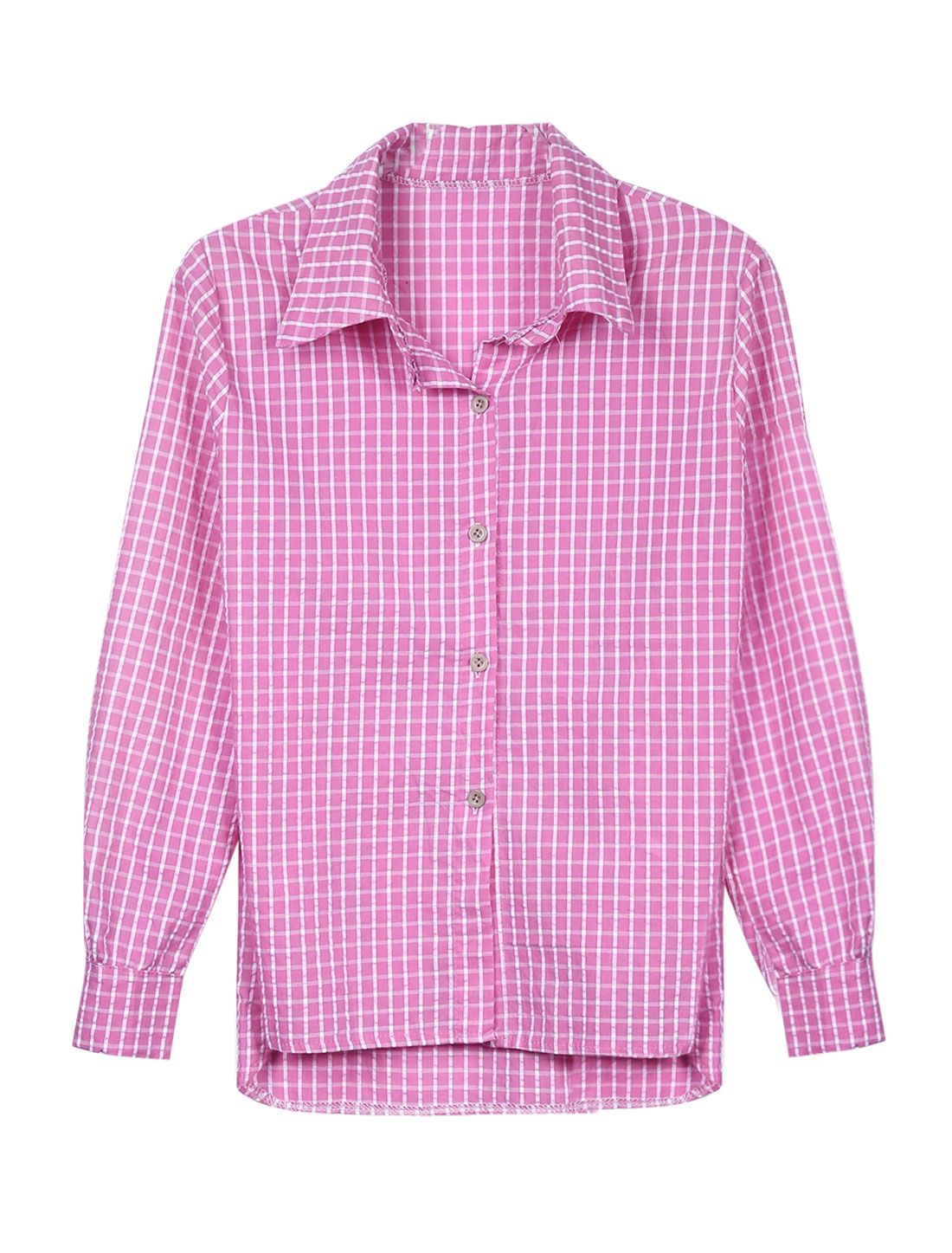 Lady Long Sleeve Single Breasted Plaids Button Down Shirt Hot Pink XS