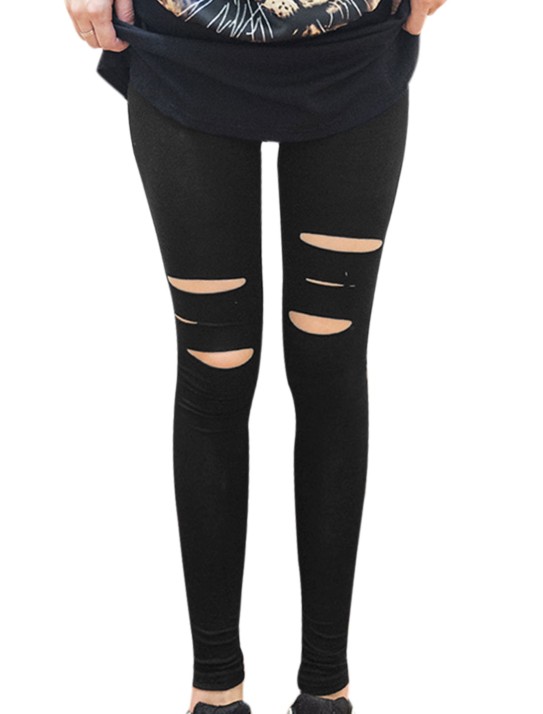 Women Elastic Waist Cut Out Design Stretchy Skinny Leggings Black XS