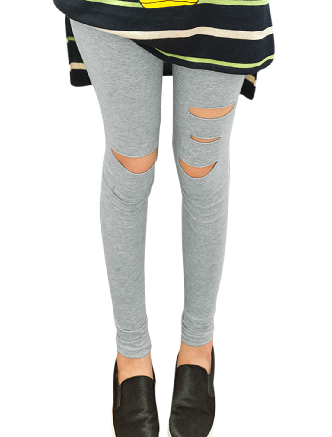 Women Fashion Style Cut Out Design Slim Fit Leggings Light Gray XS