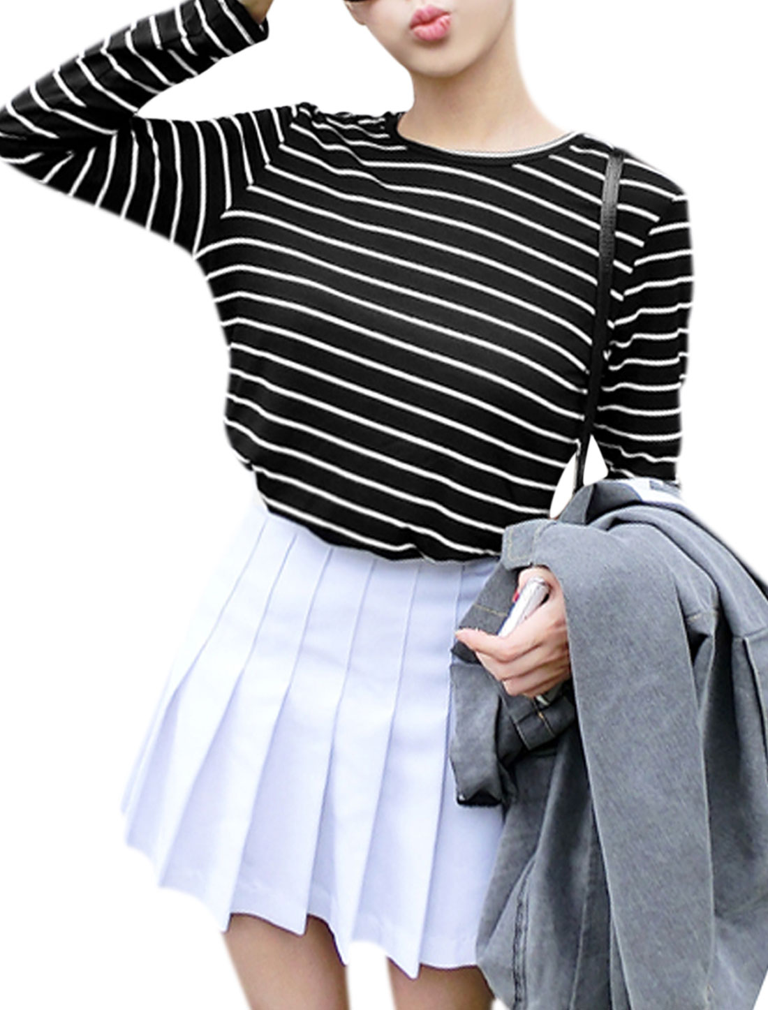 Women Round Neck Long Sleeve Stripes Casual T-shirt Black XS