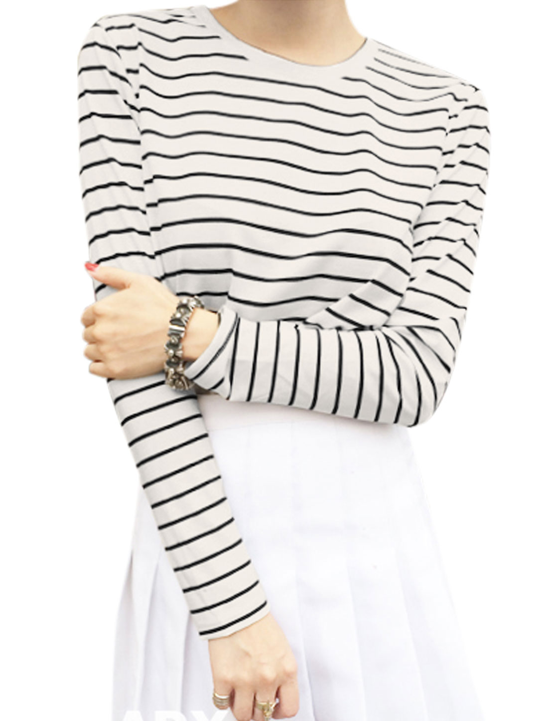 Lady Slipover Long Sleeve Bar Striped Leisure T-shirt White XS