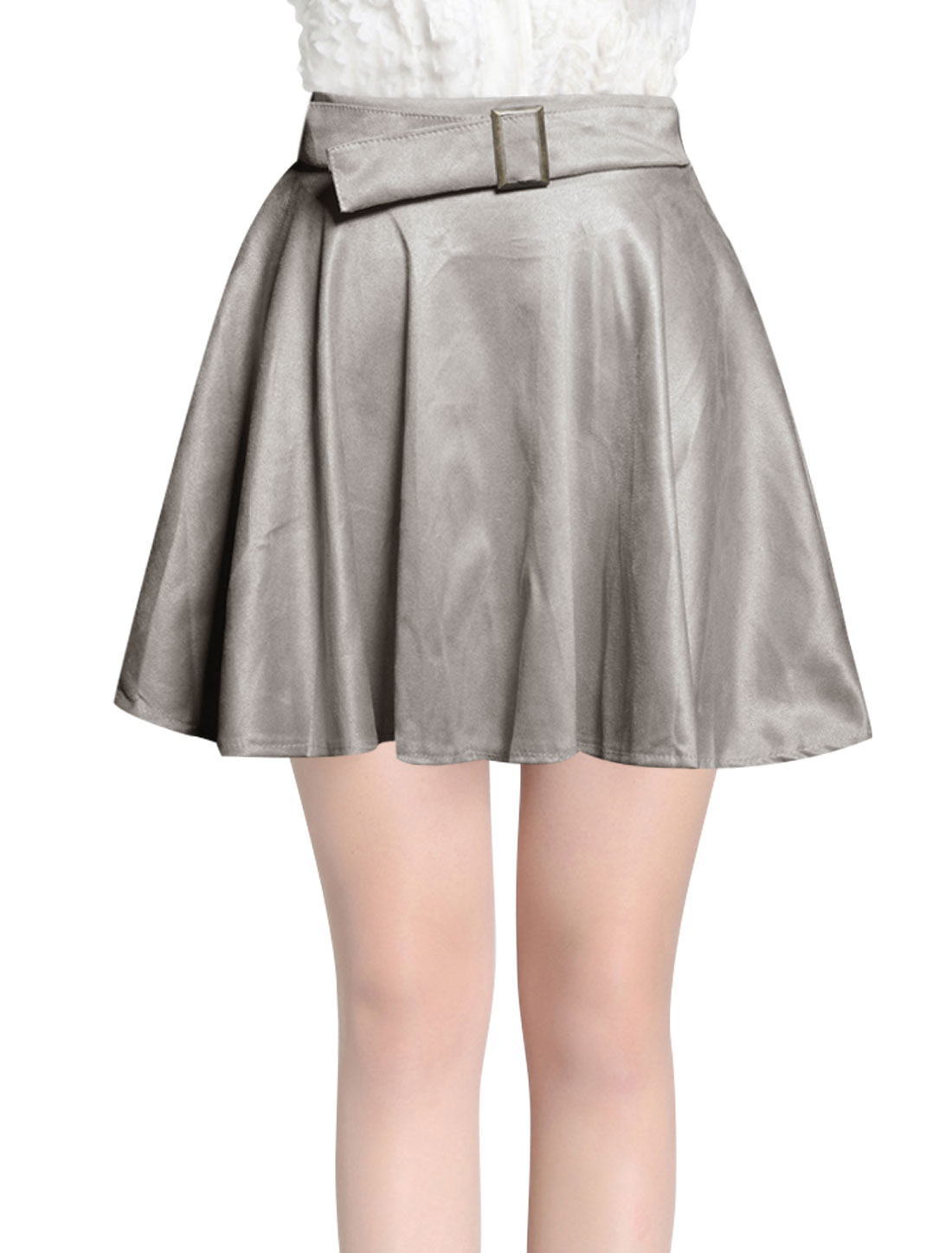 Women Ruffled Design Mini Leisure A-Line Skirt w Waist Belt Light Grey S