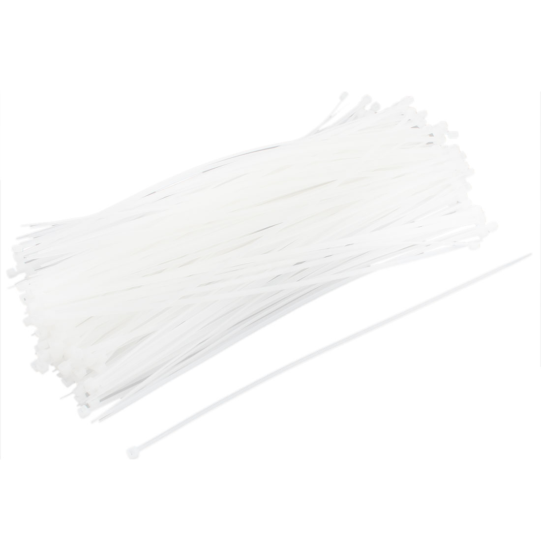 250pcs 5mmx300mm White Zip-Tie Strap Nylon Cable Tie Wire