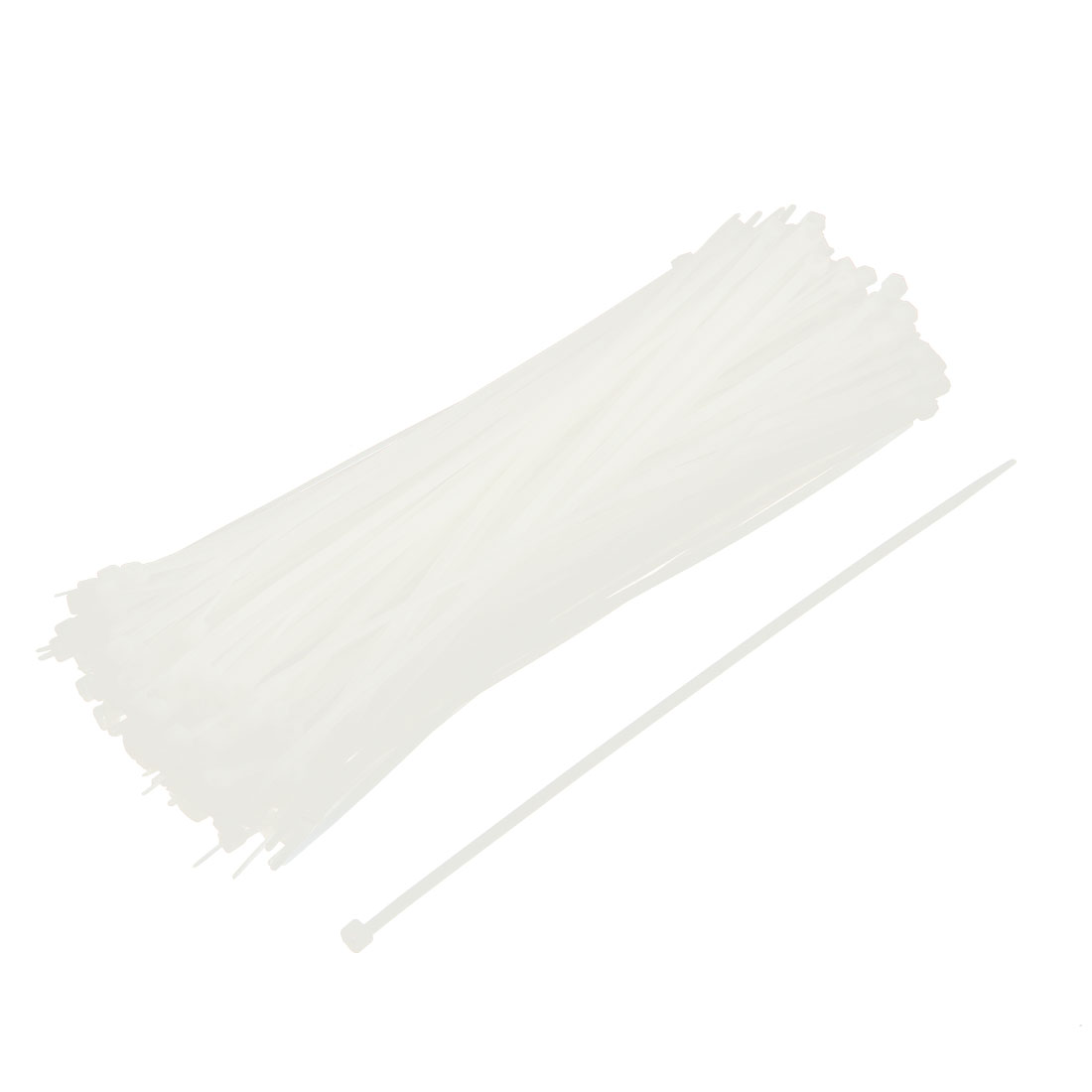 250pcs 5mmx250mm White Zip-Tie Strap Nylon Cable Tie Wire