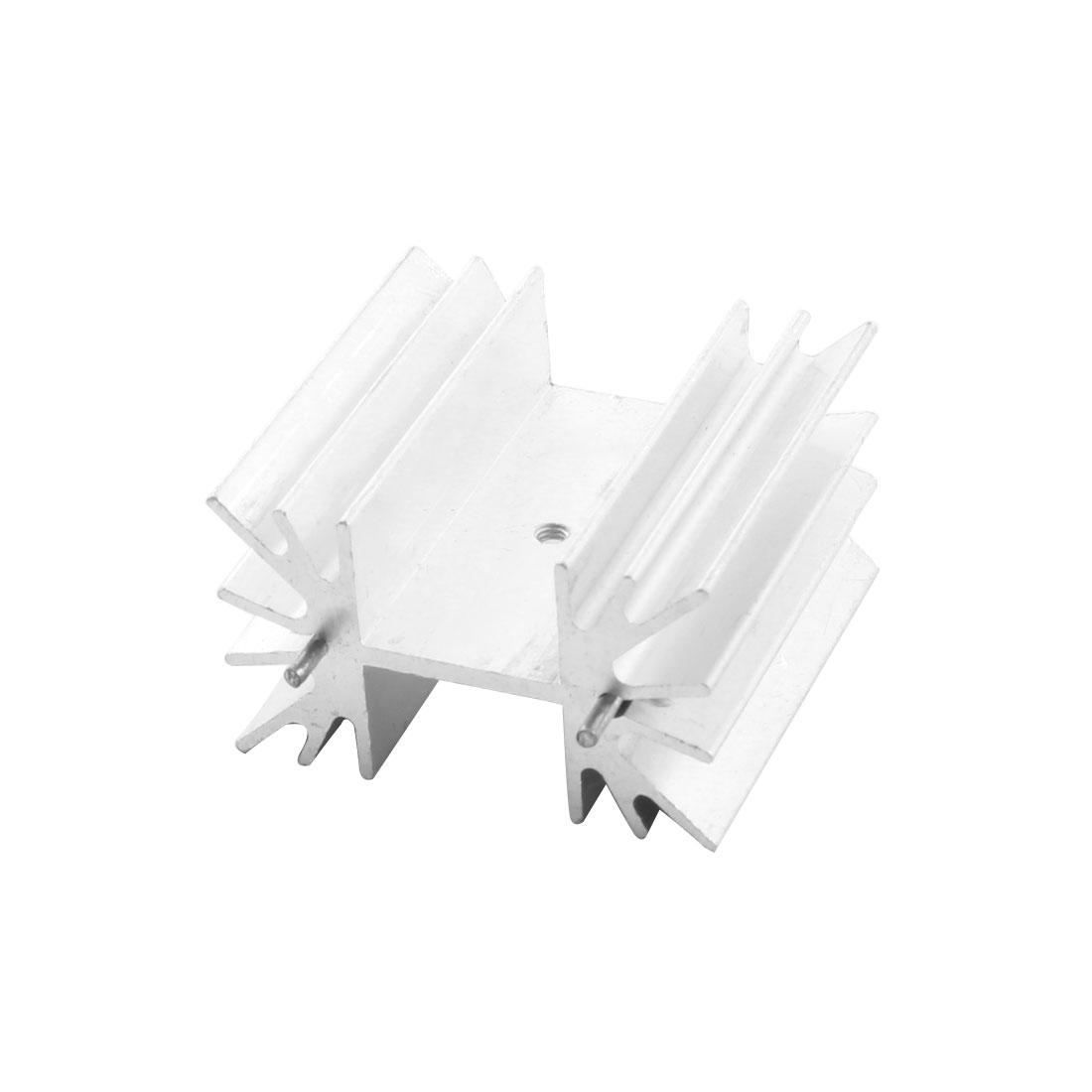 PCB Board Silver Tone Aluminium Heatsink Heat Diffuse Cooler 42mm x 40mm x 25mm w Dual Needle