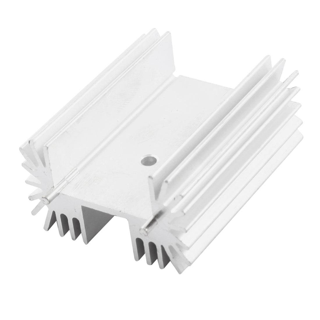 PCB Board Silver Tone Aluminium Heatsink Heat Diffuse Cooler 50mm x 42mm x 25mm w Dual Needle