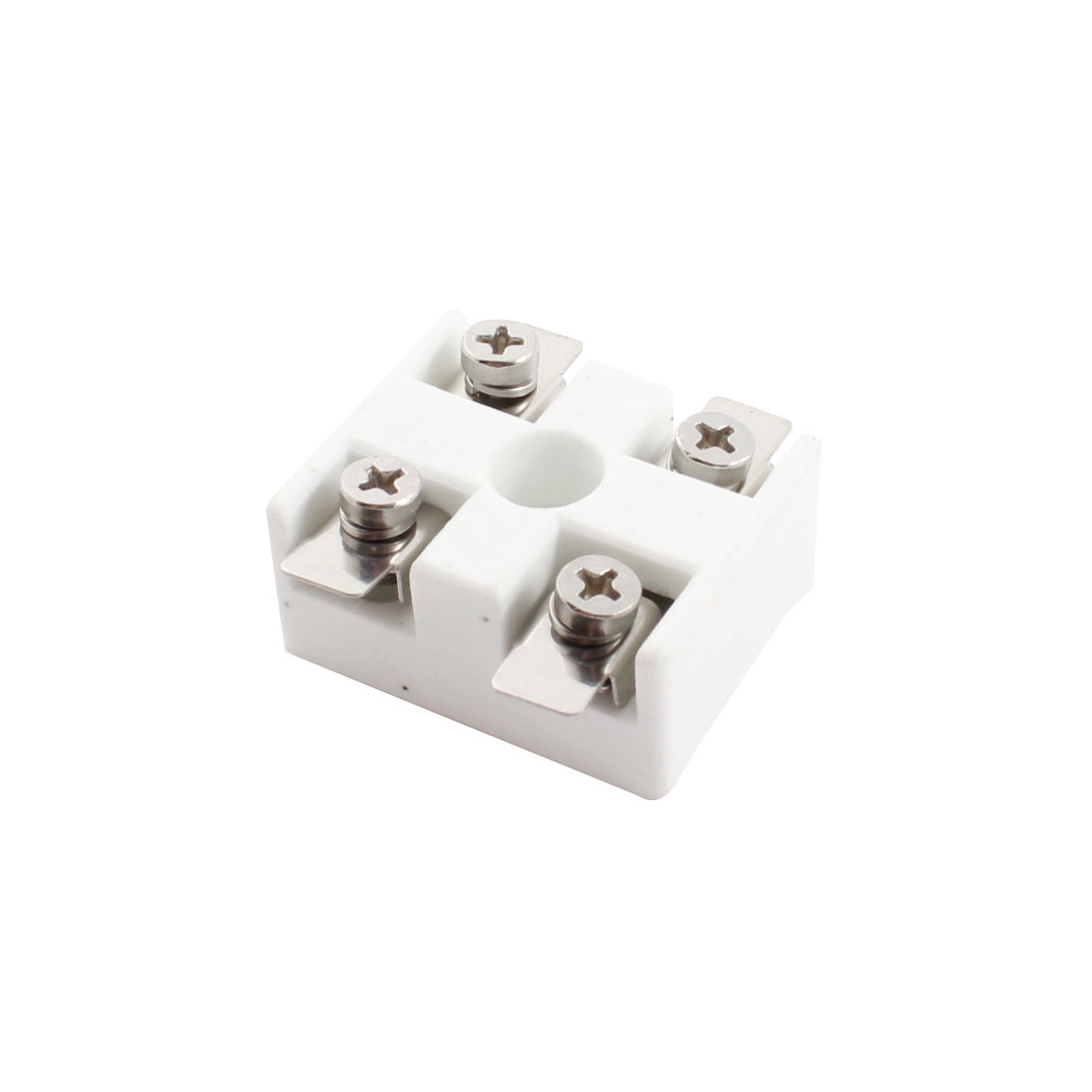 AC 600V 2 Rows 2 Positions Ceramic Base Barrier Terminal Block Wire Connector Strip