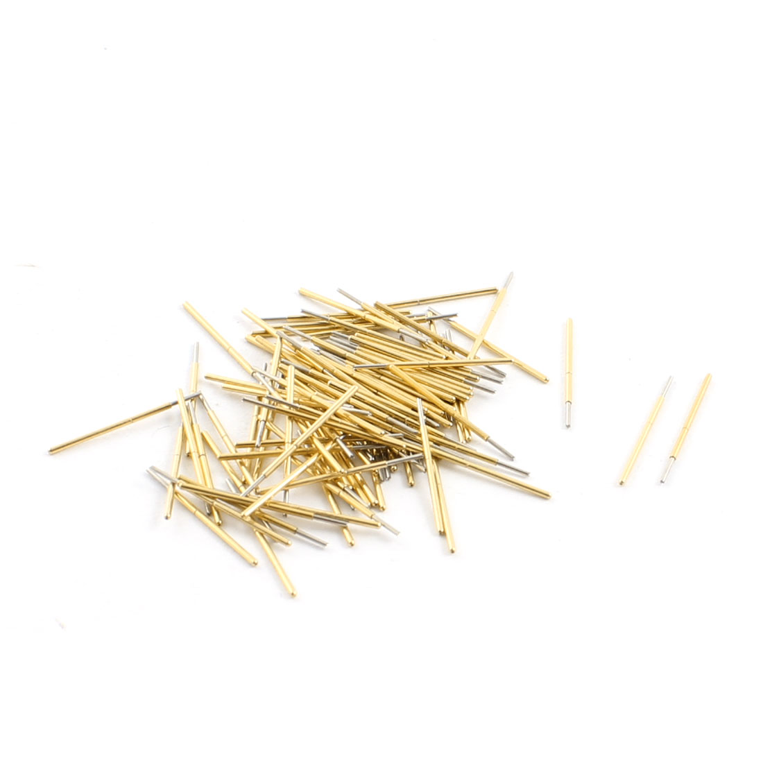 100Pcs Spear Tip Mini Gold Tone Metal Spring Test Pin Probe 0.46mm Dia 16.5mm Length