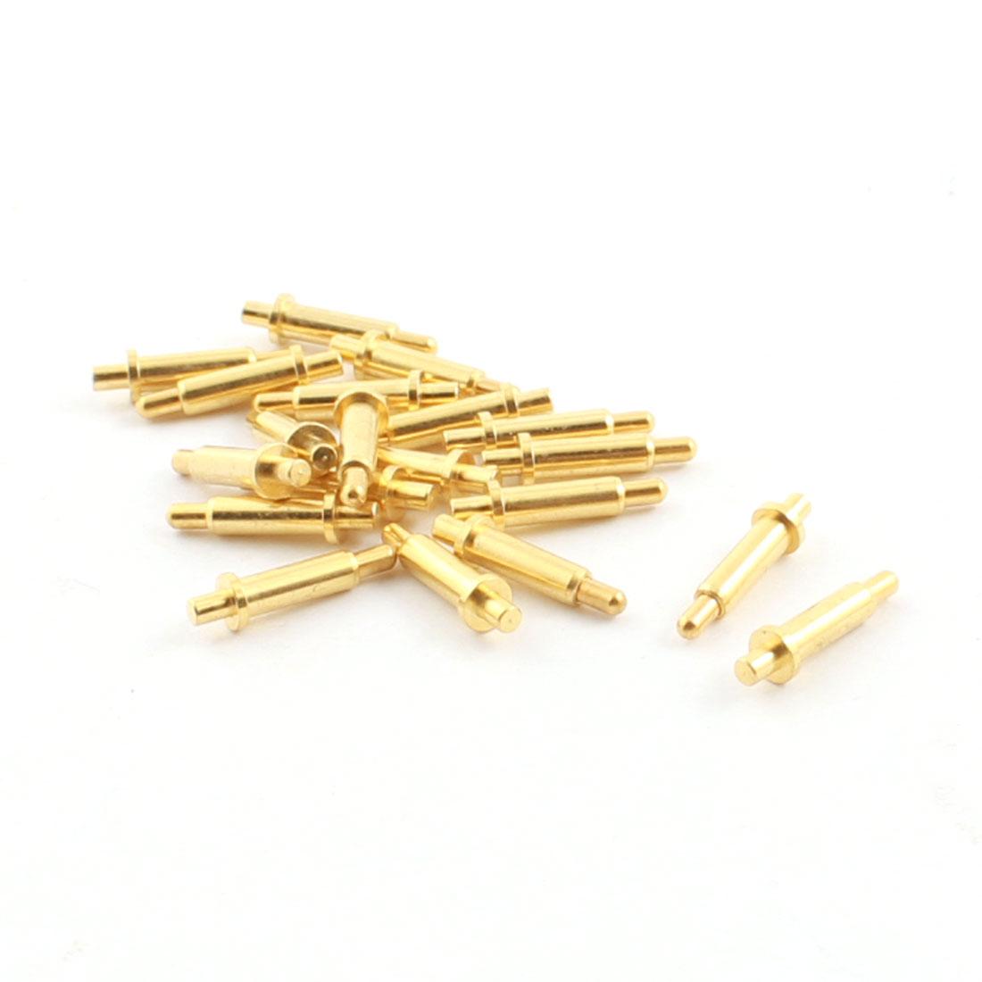 20Pcs Torx Head Tip Mini Gold Tone Metal Spring Test Pin Probe 1.4mm Dia 11mm Length