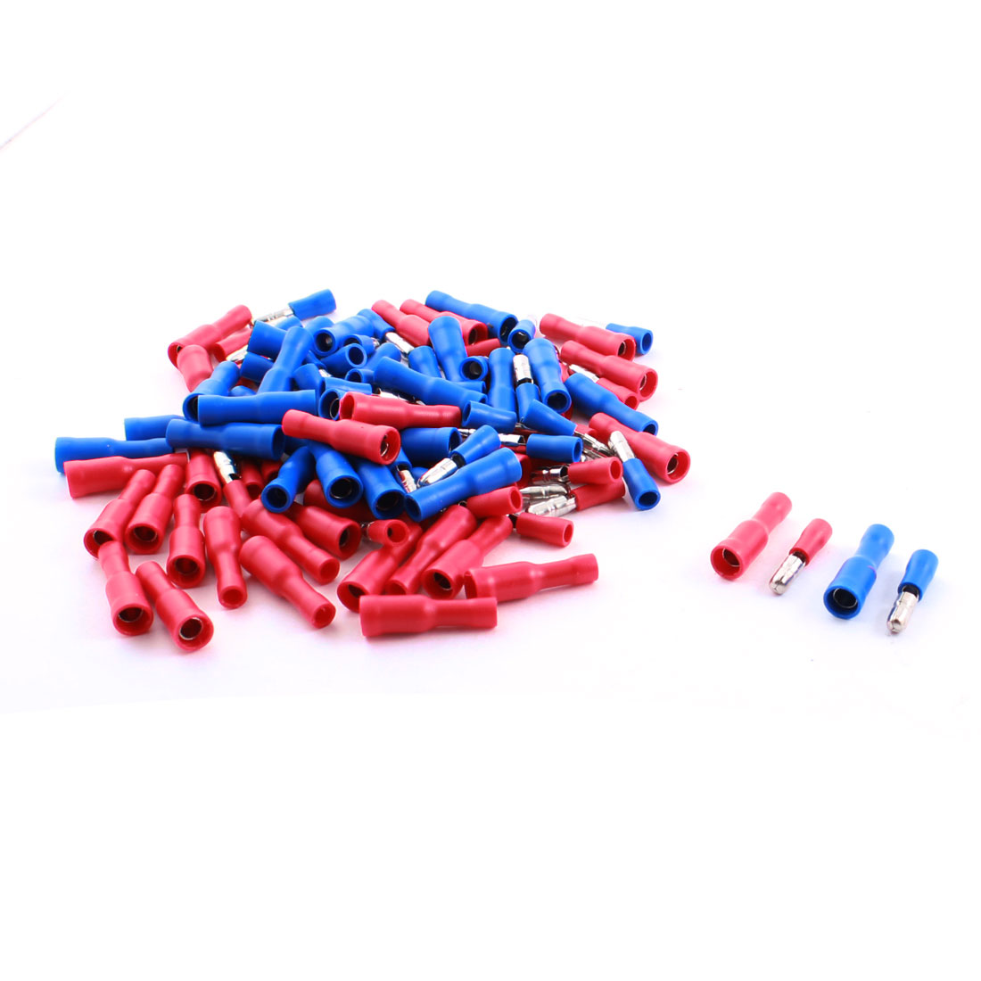 100Pcs 15A 16-14AWG Full Insulated Male Female Crimp Terminal Connector Red Blue