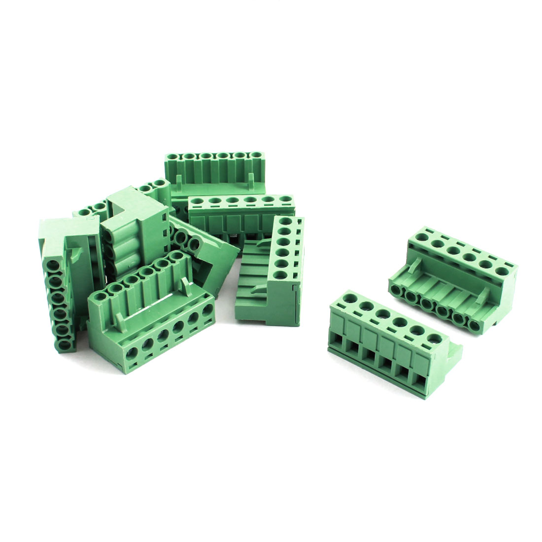10Pcs AC 300V 16A 5.08mm Pitch 6 Way PCB Screw Terminal Barrier Block Strip Green for 14-22AWG Wire