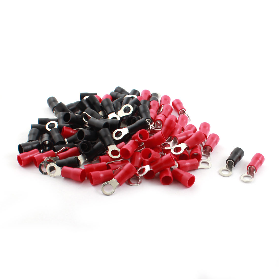 100 Pcs RV5.5-5 48A 12-10AWG Red Black Pre Insulated Ring Crimp Terminal Cable Connector 6.4mm Dia