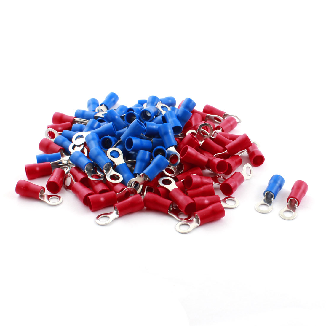 RV5.5-5 48A 6.4mm Dia Pre Insulated Ring Crimp Terminal Cable Connector Red Blue 12-10AWG 100 Pcs