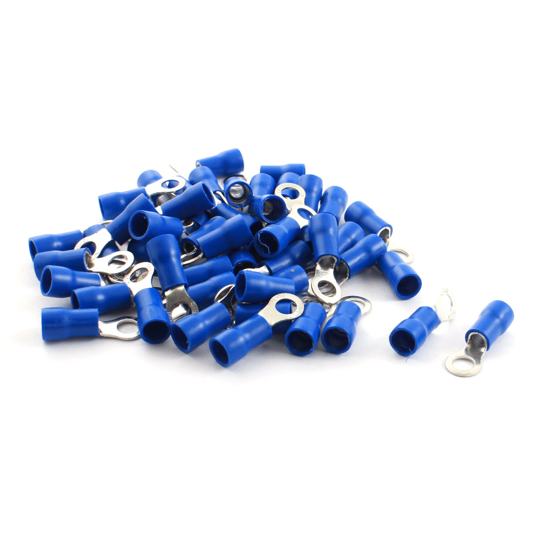 50Pcs RV5.5-5 48A 6.4mm Dia Blue Pre Insulated Ring Crimp Terminal Cable Connector 12-10AWG