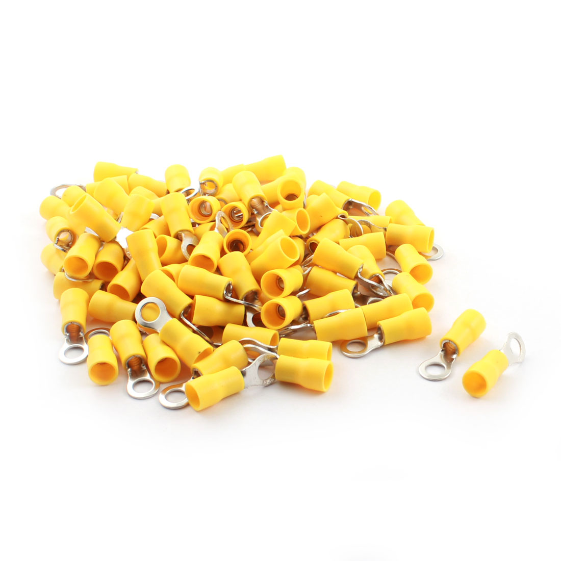 100 Pcs RV5.5-5 48A 5mm Dia Yellow Pre Insulated Electrical Ring Crimp Terminal Cable Connector 12-10AWG