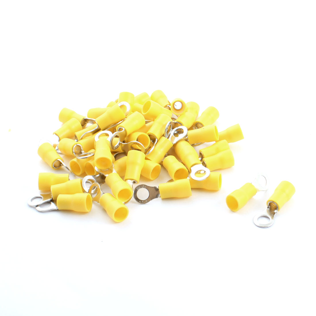 RV5.5-5 48A Yellow Pre Insulated Electrical Ring Crimp Terminal Cable Wire Connector 6.4mm 12-10AWG 50Pcs