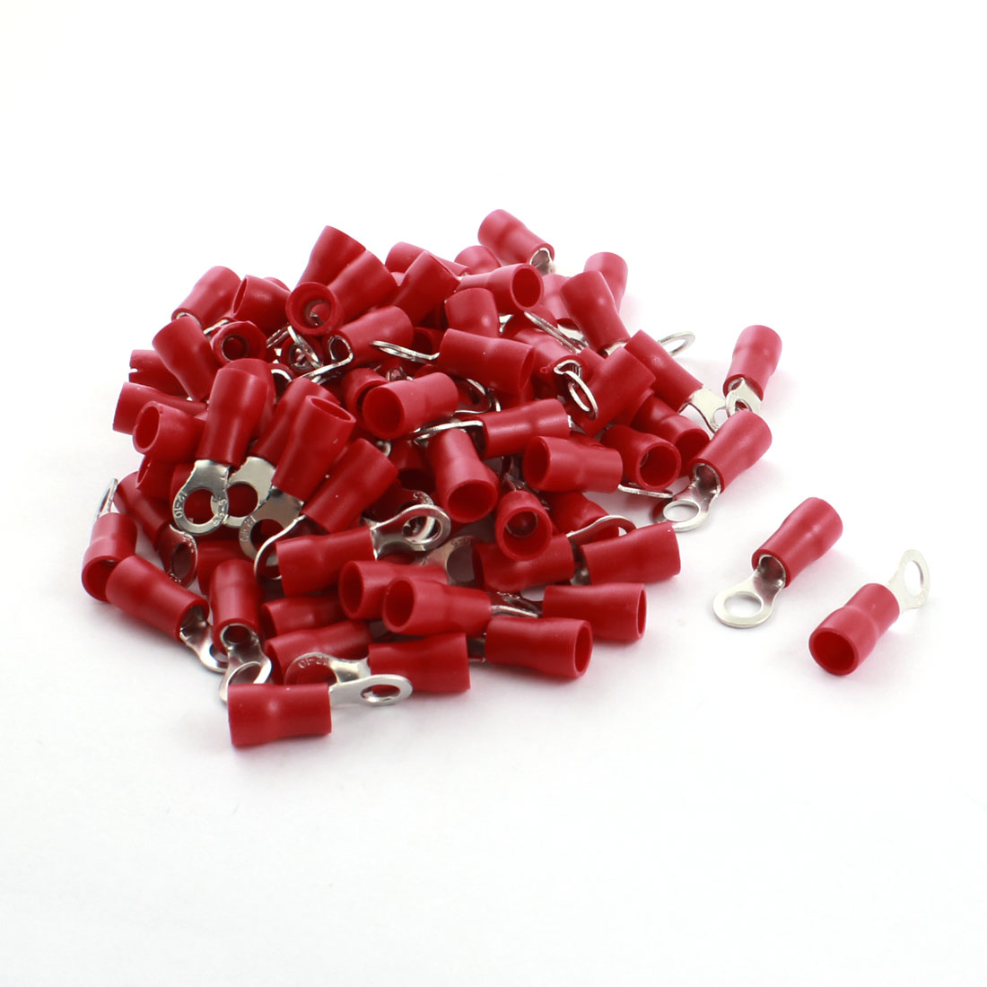 100 Pcs RV5.5-5 48A 12-10AWG Red Pre Insulated Ring Terminal Cable Connector 6.4mm Hole