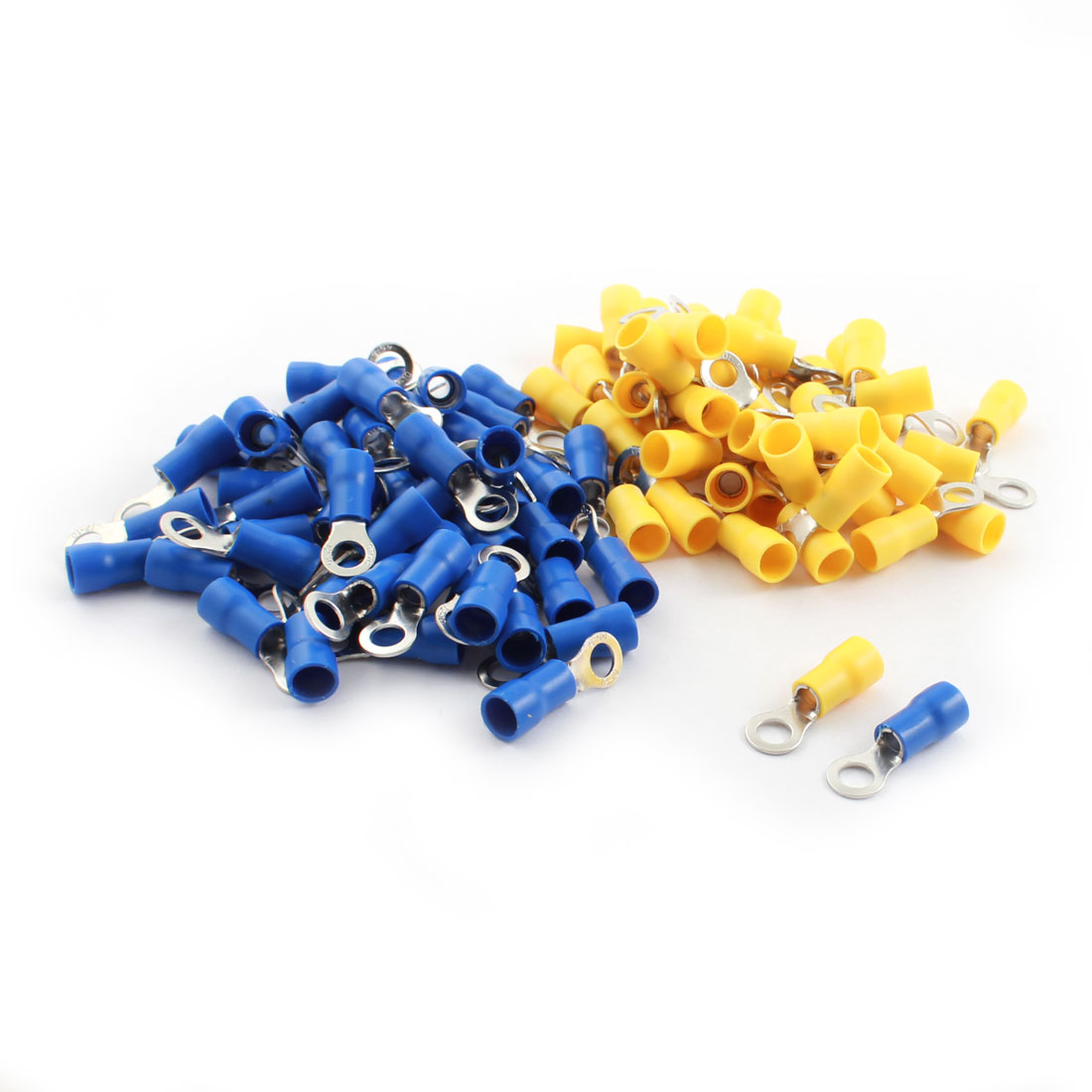 100Pcs RV5.5-5 48A 12-10AWG Blue Yellow Pre Insulated Ring Crimp Terminal Cable Connector 6.4mm