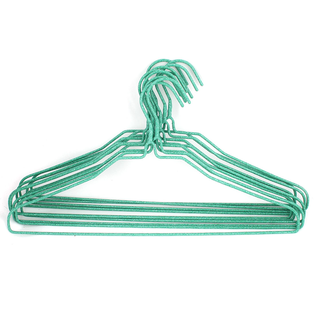 Household Plastic Wrapped Metal Rack Clothes Coat Hook Hangers 10 Pcs Green