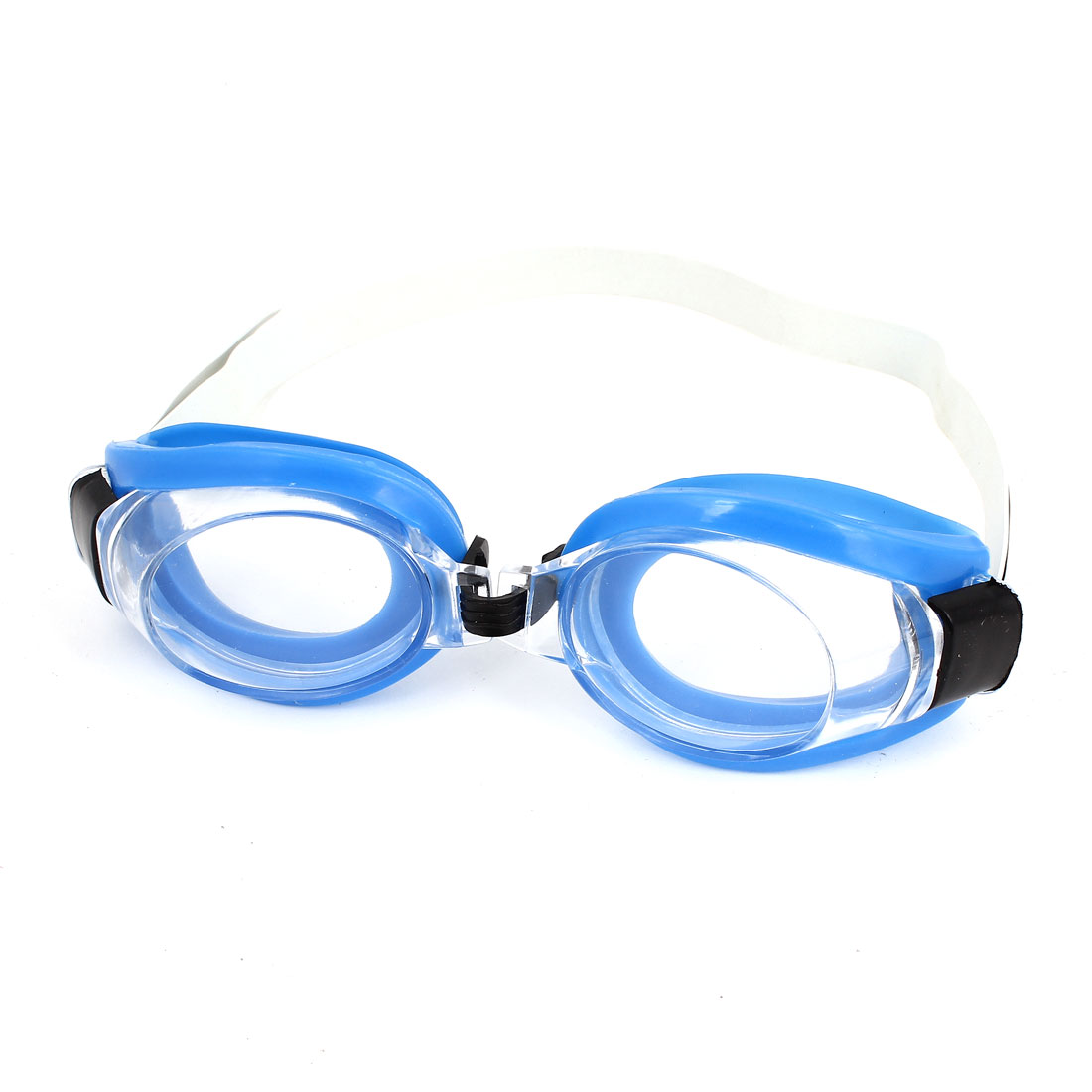 4 in 1 Ear Plugs Nose Clip Adjustable Strap Blue Swim Goggles Set