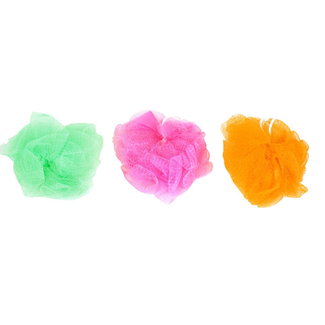 3 Pcs Tri-color Nylon Mesh Bath Shower Flower Ball w Hanging Loop