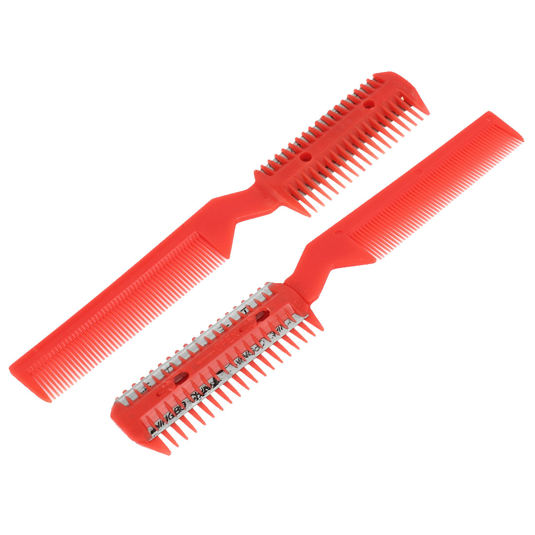 Hair Salon Red Plastic Frame Metal Blade Razor Hair Comb Cutter Trimmer 2 Pcs