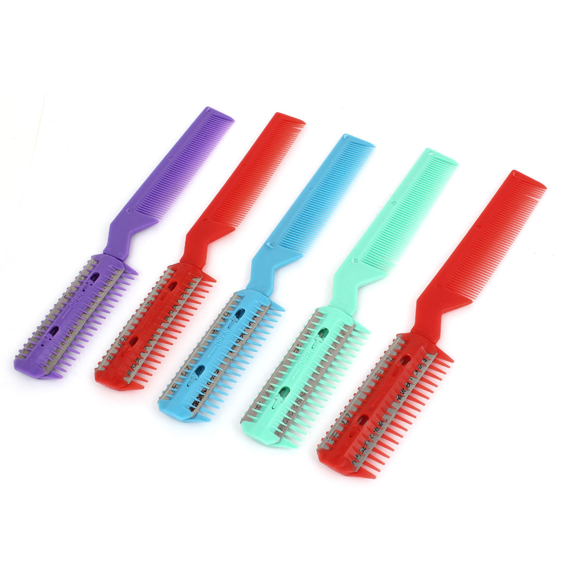 5 Pcs Assorted Color Plastic Double End Razor Blade Hair Cutter Comb Trimmer Tool