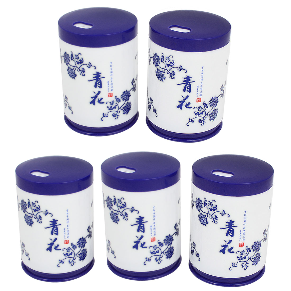5 Pcs Blue White Cylinder Shaped Floral Pattern Plastic Toothpick Holder