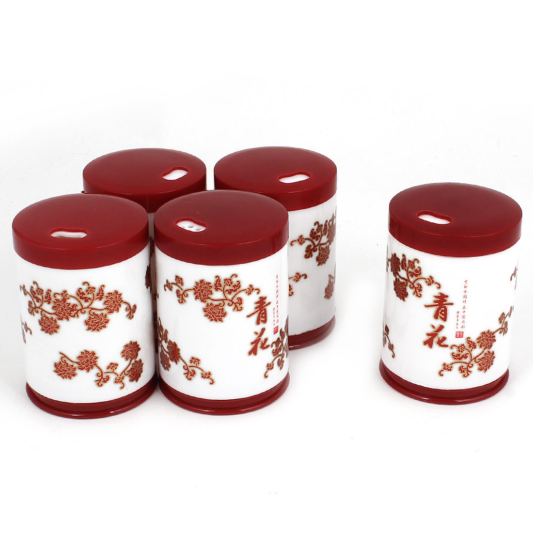 Red Flowers Pattern Plastic Toothpick Holder Case Container White 5 Pcs