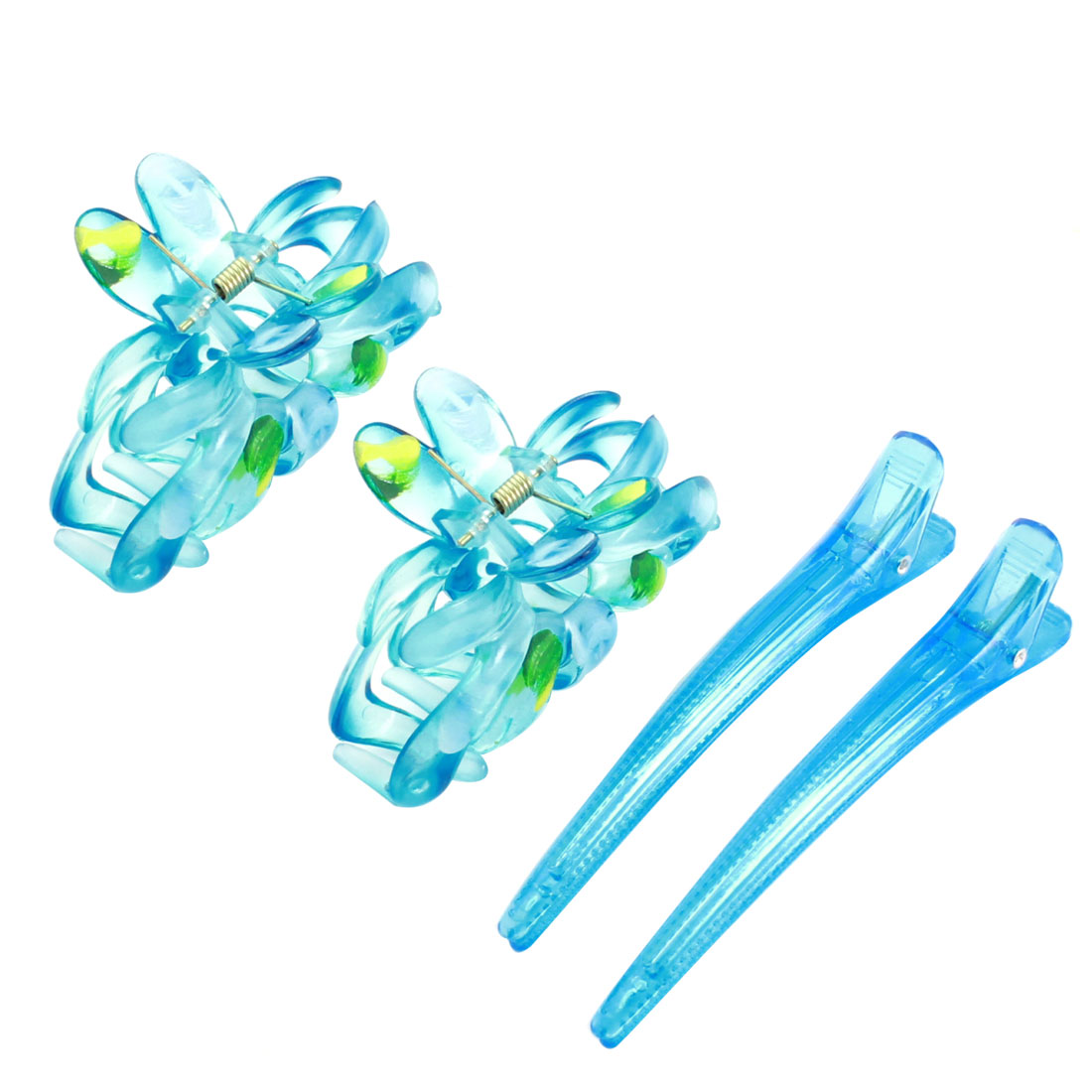 4 Pcs Clear Blue Spring Loaded Plastic Hair Claws Clips w Alligator Hair Pins