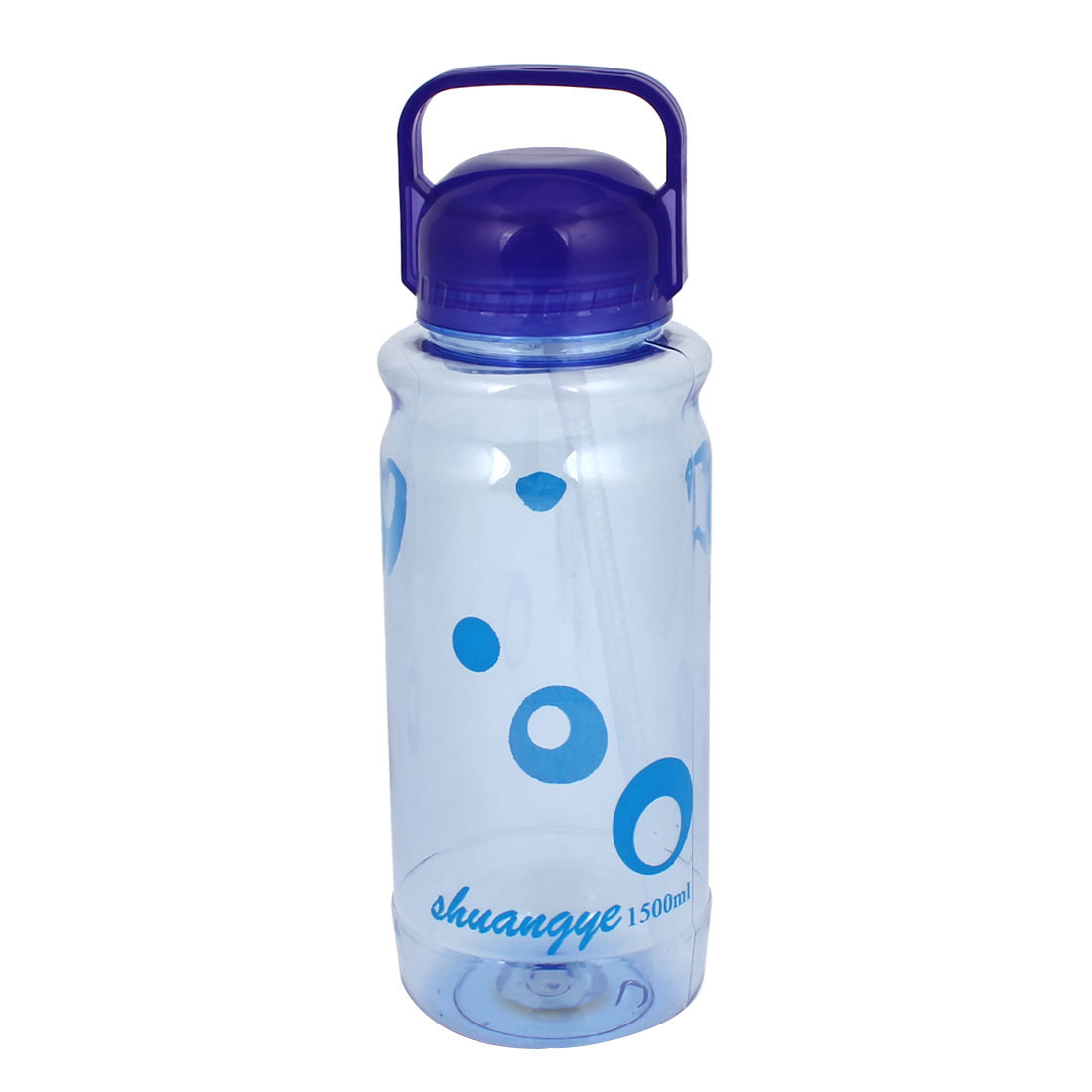 Camping Hiking Cylinder Shaped Water Drink Bottle Holder Clear Blue 1500ml