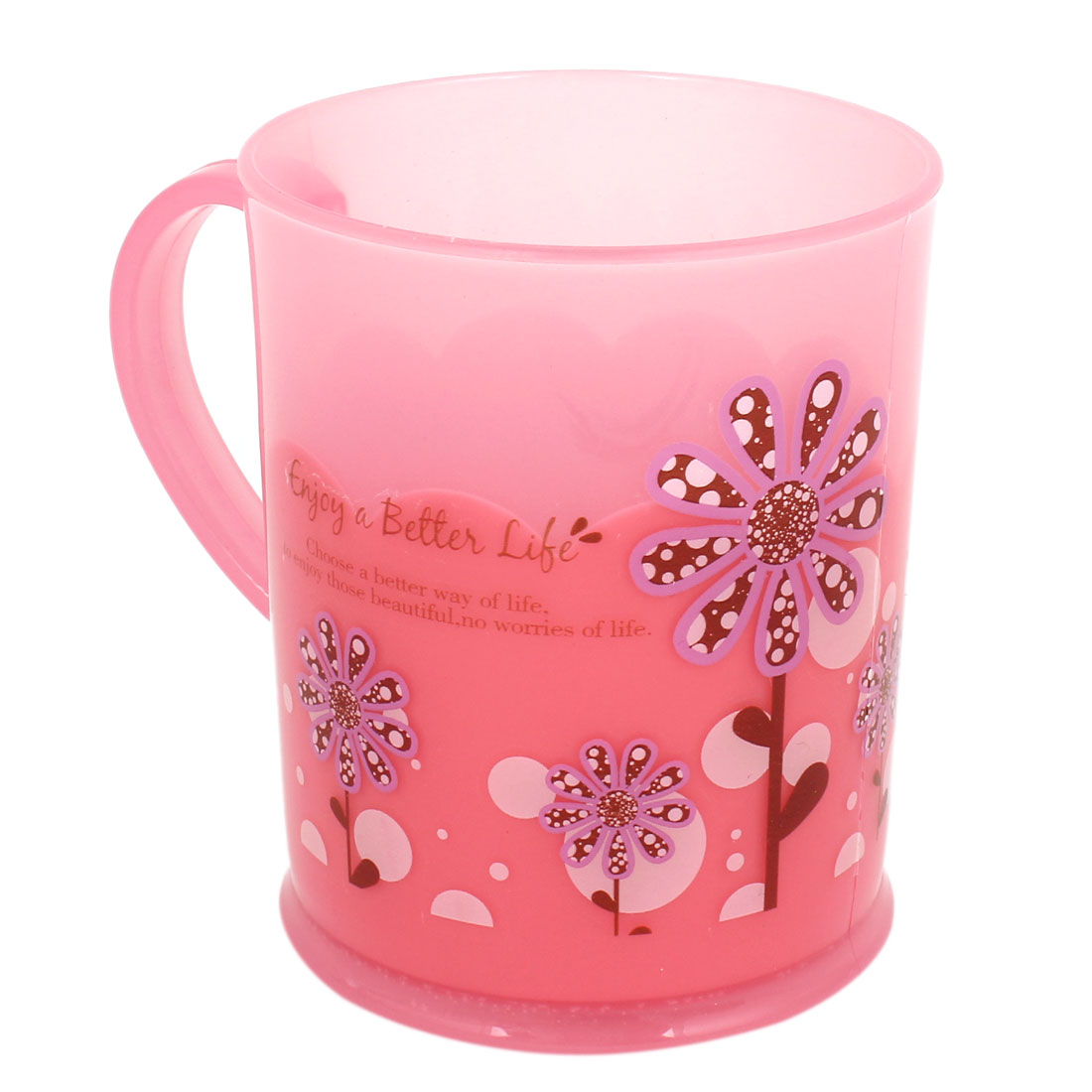 Pink Plastic Flowers Print Handgrip Water Bottle Gargle Toothbrush Cup
