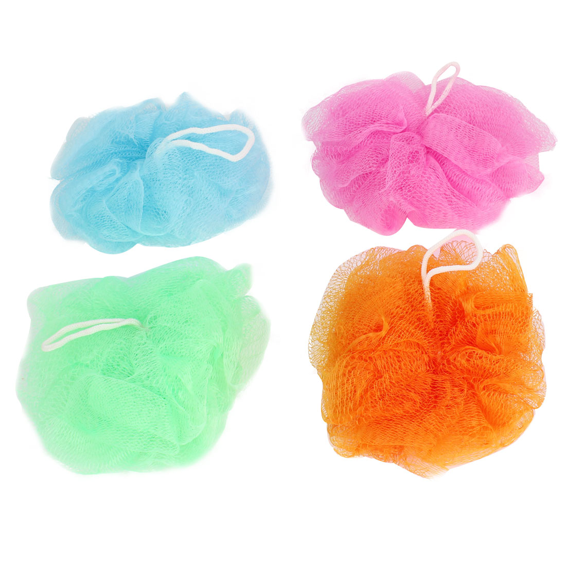 4 Pcs Colorful Nylon Mesh Bath Shower Flower Ball w Hanging Loop