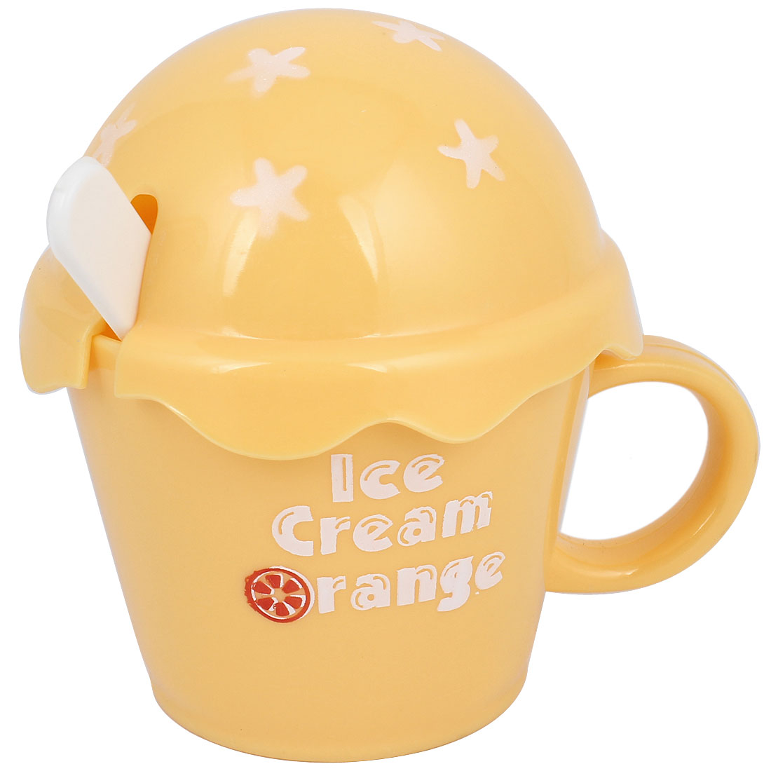 Yellow Ice Cream Design Lid Plastic Water Drinking Cup Bottle w Spoon