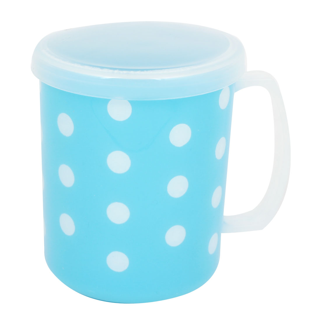 Blue Dotted Pattern Handgrip Water Bottle Gargle Toothbrush Cup w Lid