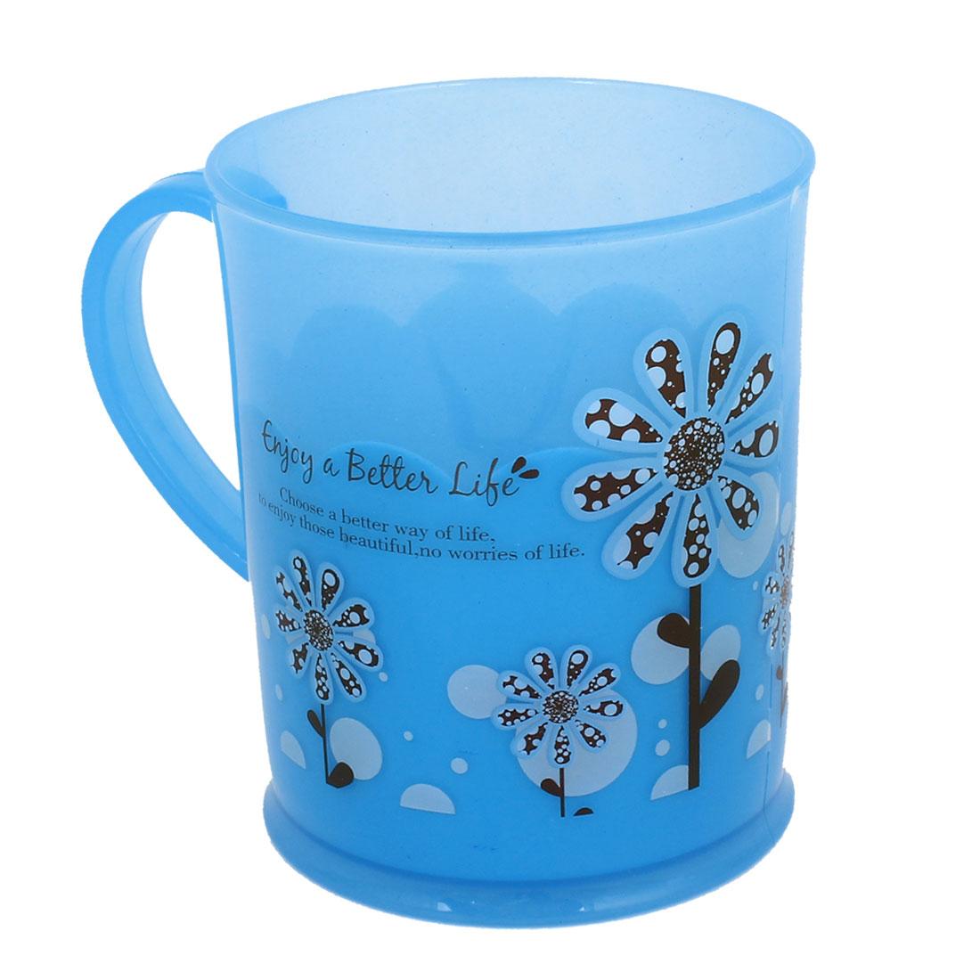 Blue Plastic Flowers Print Handgrip Water Bottle Gargle Toothbrush Cup
