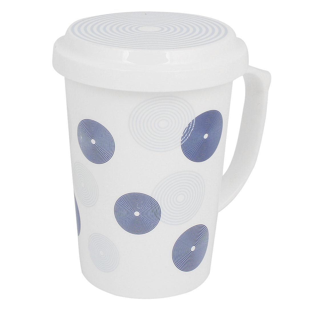 White Retro Circle Pattern Handgrip Water Bottle Gargle Toothbrush Cup w Lid