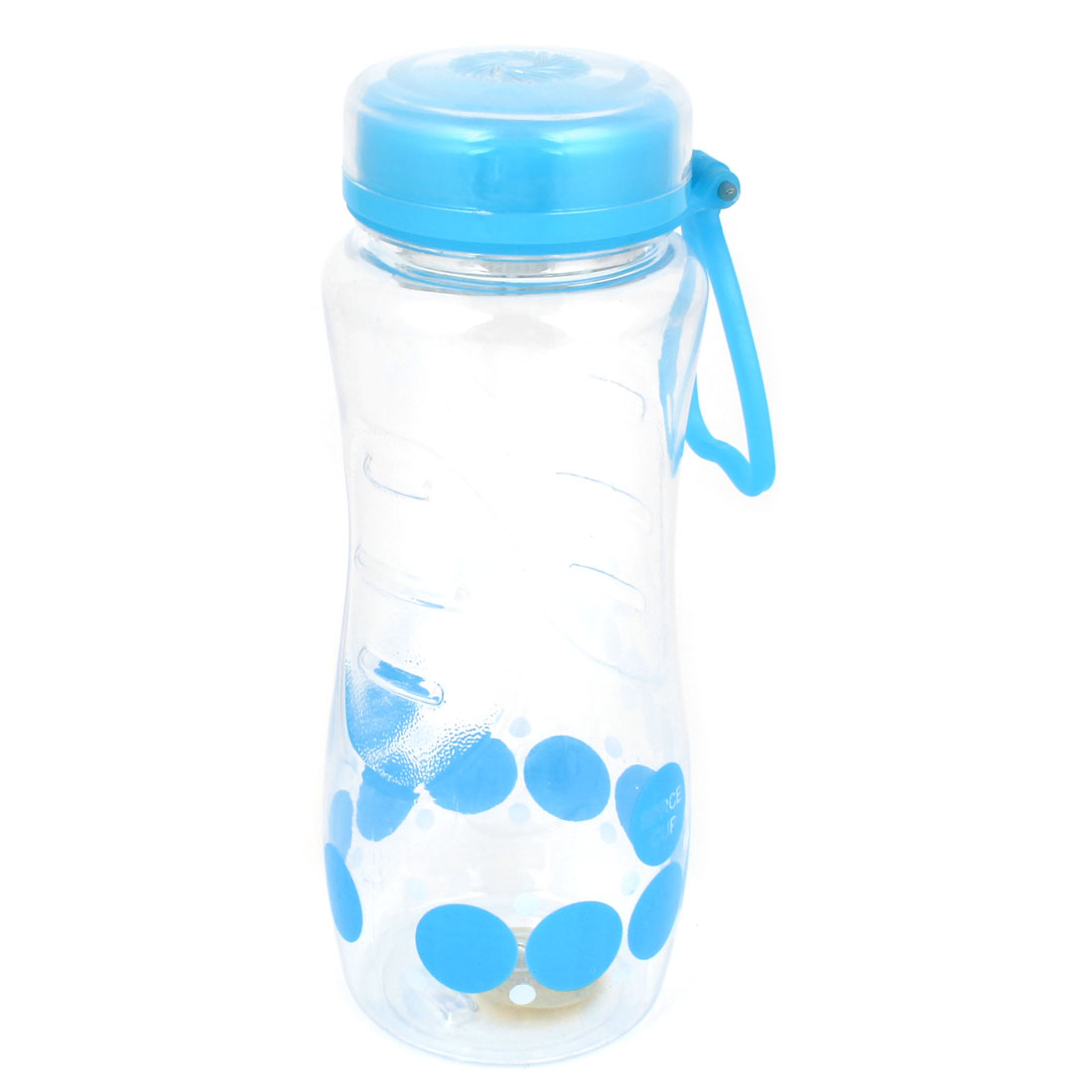 Blue Clear Plastic Dotted Printed Sports Travel Tea Strainer Water Bottle 650ml