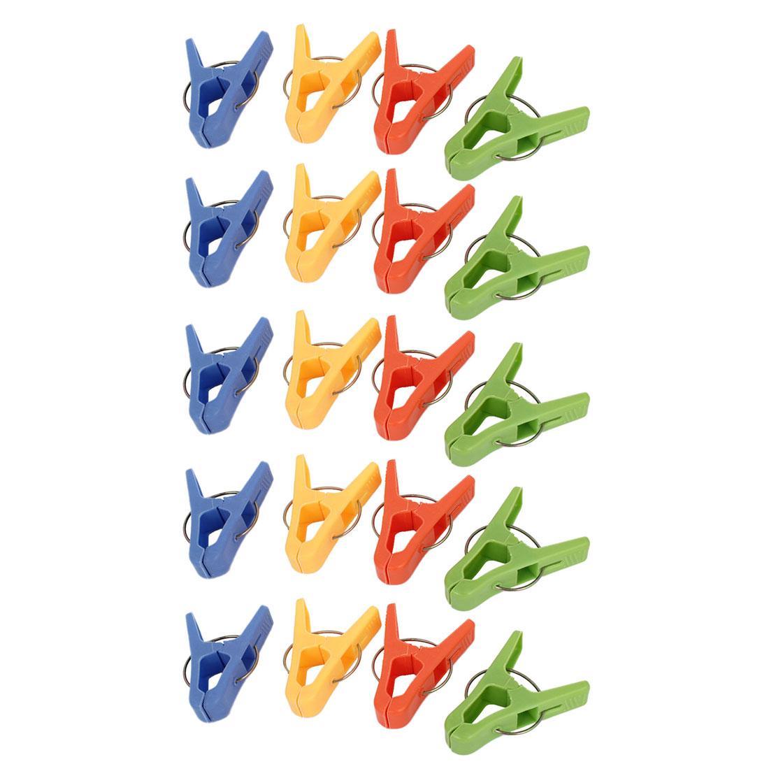 20 Pcs Four Colors Plastic Socks Hanger Clothes Pegs Clips Clothespins