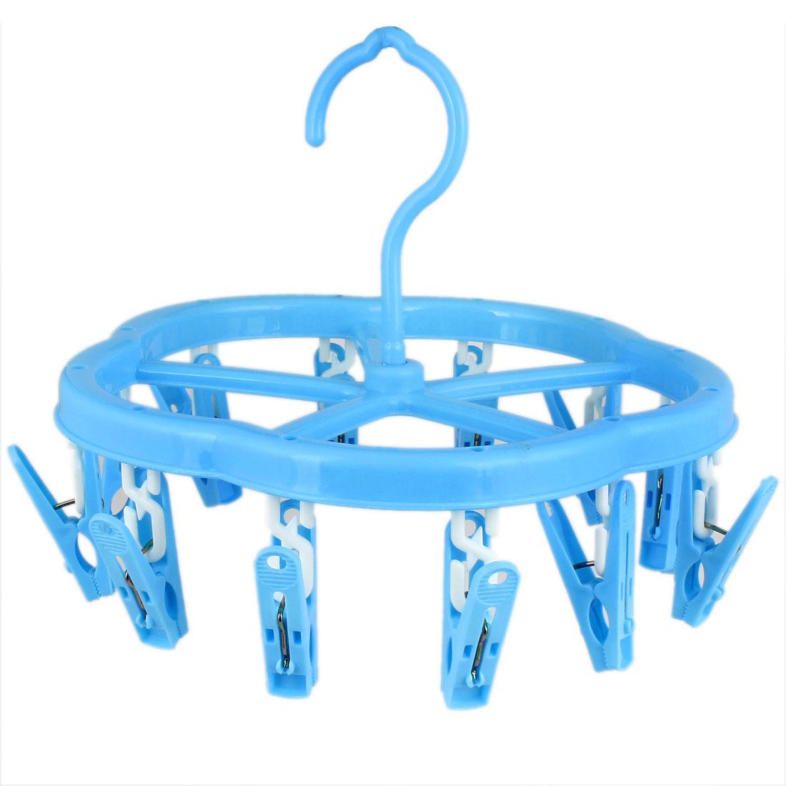 Plastic 12 Clothespins Underwear Shoelace Socks Towel Clothes Hanger Blue